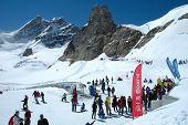 People On Jungfaujoch Pass In Switzerland.