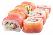 Japanese Sushi Rolls On White Background