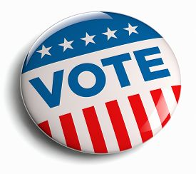 foto of lapel  - Vote USA American election campaign badge button - JPG