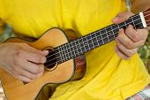 picture of ukulele  - Young man playing ukulele on the beach during vacations - JPG