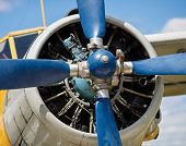 foto of propeller plane  - Propeller and airplane engine close - JPG
