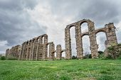 stock photo of aqueduct  - Wide angle view of Aqueduct of the Miracles in Merida - JPG