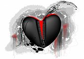 foto of zipper  - black and red heart con zipper on abstract grunge background - JPG