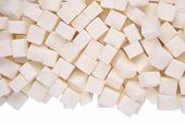pic of white sugar  - Heap of refined sugar on a white background - JPG