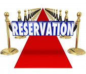 picture of exclusive  - Reservation word in blue 3d letters on a red carpet to illustrate having arrangement for exclusive access or entry to an upscale restaurant or club - JPG