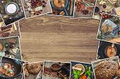 picture of  photo  - Frame photos of a retro food photos on a wooden table - JPG