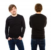Young Man Wearing Blank Black Long Sleeve