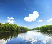 image of reflections  - lake in silent summer day with reflections of clouds  - JPG