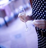 stock photo of flute  - Champagne flute wine glass in hand of young woman female wedding guest with black and white spotty dress - JPG