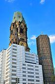 picture of memorial  - Ruins of Kaiser Wilhelm Memorial Church in Berlin destroyed by Allied bombing and preserved as memorial Berlin - JPG