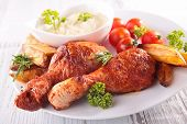 stock photo of french fries  - grilled chicken leg - JPG
