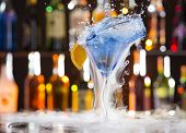 picture of vapor  - Cocktail with ice vapor on bar desk - JPG