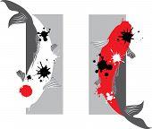 pic of koi tattoo  - Artistic vector illustration of koi carps couple in water - JPG