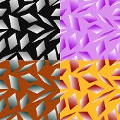 stock photo of quadrangles  - Set color of seamless geometric patterns with the parallelograms stylized under glass - JPG