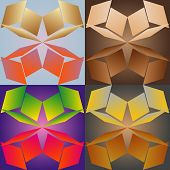 picture of quadrangles  - Set color of seamless geometric patterns with the parallelograms stylized under glass - JPG