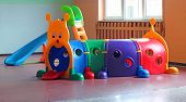image of nursery school child  - plastic tunnel for children - JPG