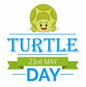pic of green turtle  - illustration for World Turtle Day with green ribbon - JPG