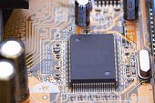 pic of processor  - Electronic circuit board with processor close up.