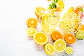 picture of infusion  - Infused water with fresh citrus fruits and ice. ** Note: Shallow depth of field - JPG