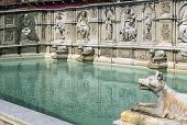 foto of piazza  - The Fonte Gaia is a monumental fountain located in the Piazza del Campo in the center of Siena Italy - JPG