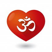 image of om  - Illustration of a heart icon with an om sign - JPG