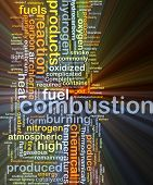 stock photo of combustion  - Background concept wordcloud illustration of combustion glowing light - JPG