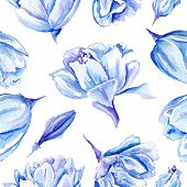 picture of indigo  - Seamless passion floral background with indigo flowers - JPG