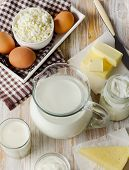 picture of milk products  - Milk products on wooden table - JPG