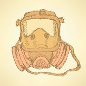 image of respiratory  - Sketch respiratory mask in vintage style vector - JPG
