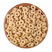 pic of cereal bowl  - Breakfast cereal rings in a wooden bowl on a white background - JPG