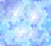 stock photo of honeycomb  - vector seamless pattern with honeycombs in blue color - JPG