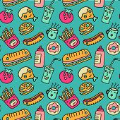 picture of fanny  - Vector cartoon fast food seamless background - JPG
