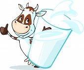picture of milk glass  - cute cow behind glass of milk  - JPG