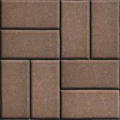 picture of paving  - Brown Paving Slabs of Rectangles Laid Out on Two Pieces Perpendicular to Each Other - JPG