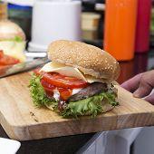 foto of hamburger  - Close up Hamburger on wooden broad  - JPG