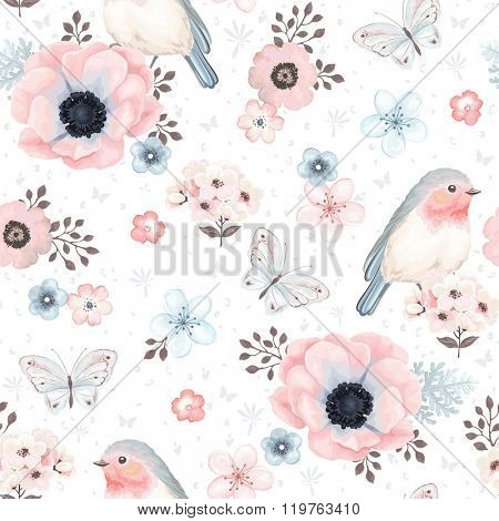 Seamless pattern with birds Robin, butterflies, anemones and small flowers in vintage watercolor sty
