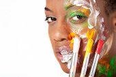 Beautiful black woman in facepaint