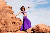Beautiful sexy bellydancer in the desert