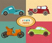 Постер, плакат: Vector set of four retro cars