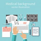 Постер, плакат: Doctor With Laptop His Desk Studying Documents Of Diagnostic Research Workplace Doctor At Table