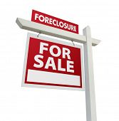 Foreclosure For Sale Real Estate Sign Isolated on White.