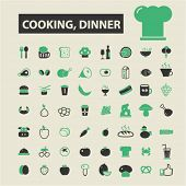 Постер, плакат: cooking dinner icons cooking dinner logo cooking dinner vector cooking dinner flat illustrati