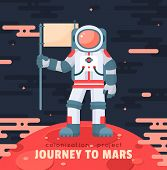 Постер, плакат: Mars colonization project poster with astronaut holding flag First travel to Mars