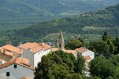 View Of The House With Red Roofs And The Valley From A High Point. The Town Of Motovun, Croatia