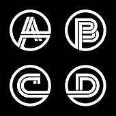 Постер, плакат: Capital letters A B C D From double white stripe