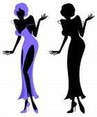 Illustrated silhouette of a sexy lady