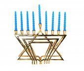 A Hanukkah menorah, isolated.
