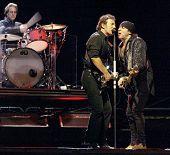 NEW YORK - OCTOBER 4: Singer Bruce Springsteen (C), Steve Van Zandt (R) and Max Weinberg, of the E S