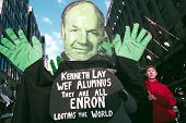 NEW YORK - FEBRUARY 2:  Protesters hold up an effigy of Enron's Kenneth Lay during a march against the World Economic Forum (WEF) February 2, 2002 in New York City.