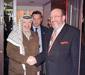NEW YORK - SEPT 22: Belgium Minister of Foreign Affairs Louis Michel (R) meets with Palestinian Leader Yassir Arafat on September 22, 1999 in New York.